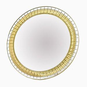 Specchio da parete grande rotondo con incisioni dorate di Cristal Art, anni '60