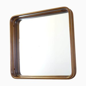 Italian Wooden Square Mirror, 1970s