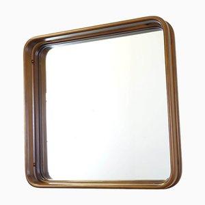 Quadratischer italienischer Spiegel mit Holzrahmen, 1970er