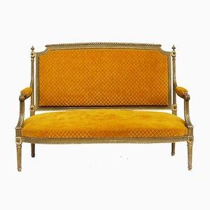 Antikes französisches Gesso Sofa mit vergoldetem Holzgestell