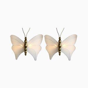 Appliques Papillon en Laiton par Antonio Pavia, Italie, 1970s, Set de 2