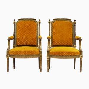 Französische Gesso Armlehnstühle mit vergoldetem Holzgestell, 1920er, 2er Set