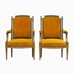 French Giltwood Gesso Armchairs, 1920s, Set of 2