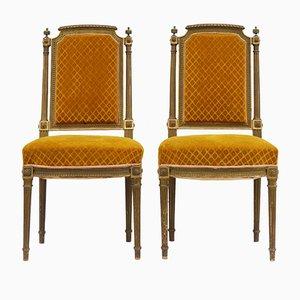Französische Beistellstühle mit vergoldetem Holzgestell, 1920er, 2er Set