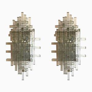 Apliques Idra italianos de metal y vidrio de Poliarte, años 70. Juego de 2