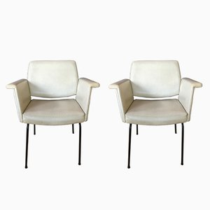 White Skai Armchairs, 1960s, Set of 2