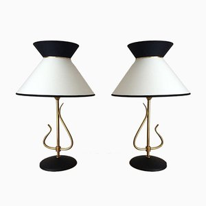 Brass and Iron Diabolo Table Lamps, 1960s, Set of 2