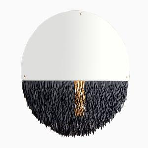 Boudoir Fetiche Spiegel mit Rahmen aus Messing & Leder von Savvas Laz