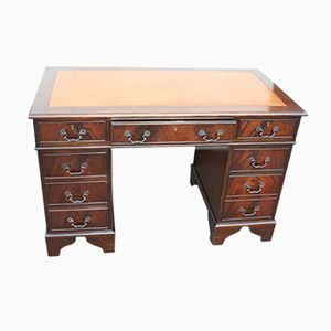 Mahogany Pedestal Desk with Tan Leather, 1960s