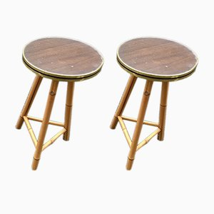 Large Vintage Bamboo & Formica Plant Stands, Set of 2