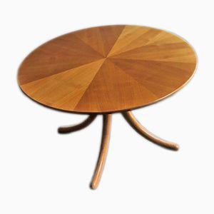 Tavolo vintage in betulla con gambe curve e ripiano impiallacciato