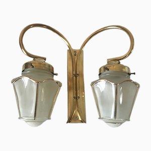 Lampada da parete con due lanterne in ottone, anni '60