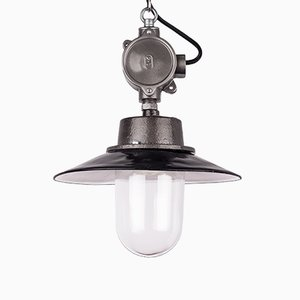 Polish Industrial Grey Enamel & Glass Pendant Lamp, 1960s