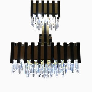 Glass and Gold Metal Chandelier by Willy Rizzo, 1970