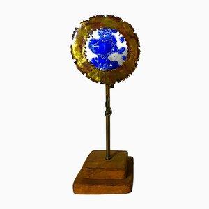 Lampada da tavolo in bronzo e vetro soffiato, anni '60