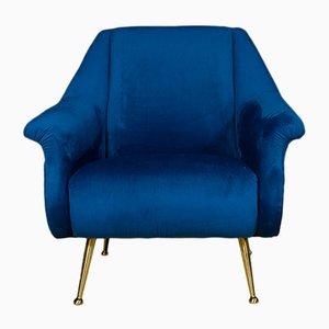Sedia in velluto blu, anni '70