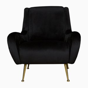Black Velvet Chair, 1970s