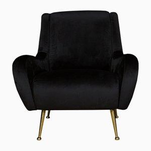 Sedia in velluto nero, anni '70