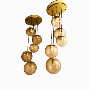 Lampe à 5 Globes Dorée de Limburg, 1970s, Set de 2