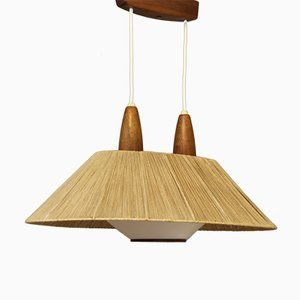 French Mid-Century Modern Teak Ceiling Light