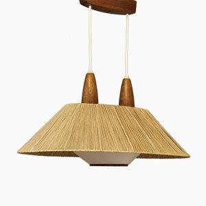 Moderne französische Mid-Century Deckenlampe aus Teak