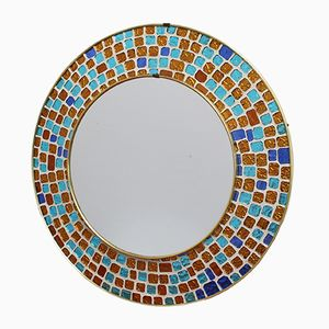 Circular Brass Mirror with Mosaic Glass, 1960s
