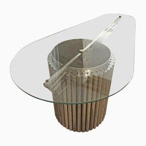 Tavolino da caffè grande in vetro di Gastone Rinaldi, anni '60