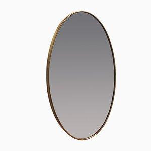 Mid-Century Oval Italian Brass Mirror