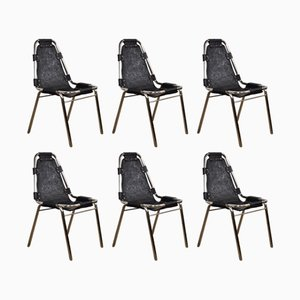 Chrome and Black Leather Chairs, 1970s, Set of 6
