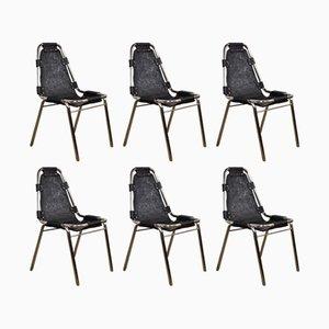 Schwarze Ledersessel aus Chrom, 1970er, 6er Set