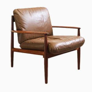 Mid-Century Danish Modern Teak & Leather Armchair by Grete Jalk for Cado