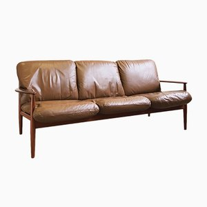 Mid-Century Modern Danish Teak Leather Sofa by Grete Jalk for Cado