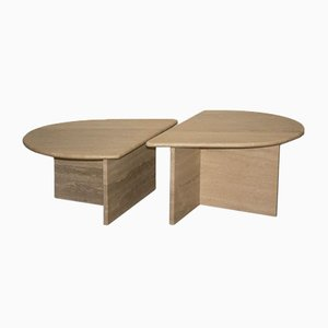 Vintage Italian Travertine Coffee Tables, Set of 2