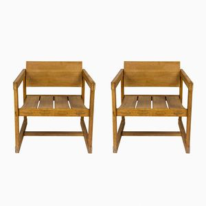 Pinewood Armchairs, 1950s, Set of 2