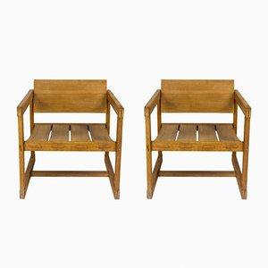 Sessel aus Pinienholz, 1950er, 2er Set