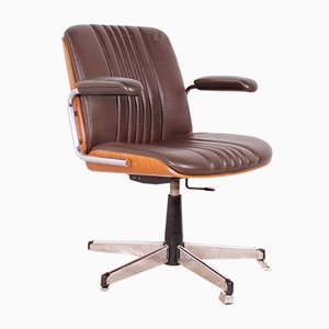 Vintage Leather Swivel Chair from Stoll Giroflex