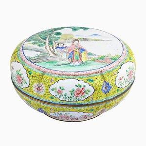 Caja cantonesa esmaltada, siglo XIX