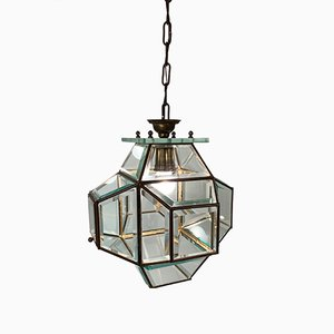 Large Italian Lantern in Brass & Cut Glass, 1950s