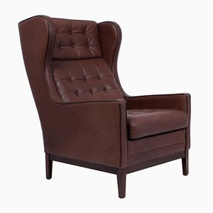 Danish Leather Wing Chair, 1960s