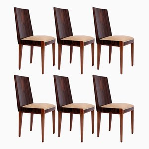Art Deco Macassar Ebony Dining Chairs, 1930s, Set of 6