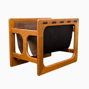 Teak & Leather Magazine Rack from Salin Møbler, 1970s
