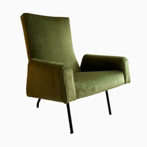 Mid-Century French Velvet Lounge Chair by Pierre Guariche