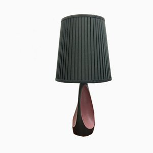 Vintage Danish Black and Burgundy Ceramic Table Lamp