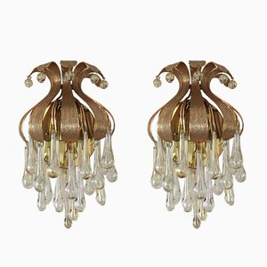 Vintage Murano Glass Drop Sconces from Palwa, Set of 2