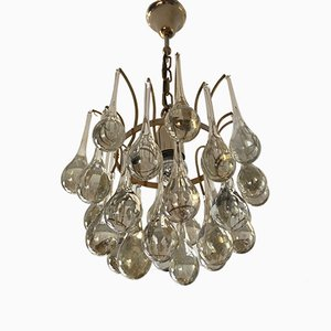 Vintage Glass Drop Chandelier by Christoph Palme for Palwa