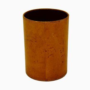Leather Waste Paper Basket, 1940s