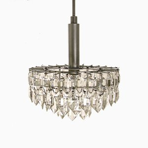 Chandelier with Crystal Glass & Nickel Plated Frame from Lobmeyr, 1960s