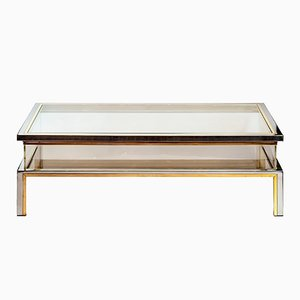 Mid-Century Brass & Glass Coffee Table by Romeo Rega