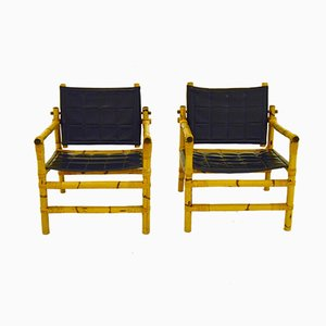 Bamboo and Rattan Safari Chairs, 1960s, Set of 2