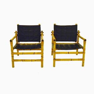 Chaises Safari en Bambou & Rotin, 1960s, Set de 2